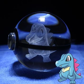 LED Night Light  go Table Lamp Pokeball Crystal Totodile Design Carving 3D Ball Baby Kids GiftsKawaii Pokemon go  AT_89_9
