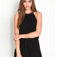 Black Halter Neck Romper Playsuit - Choies.com
