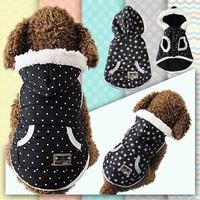 Cool Design S/M/L/XL Point Or Star Soft Cotton Blend Winter Warm Pet Windproof Clothes Dog Winter Jacket Coat Dog Clothes