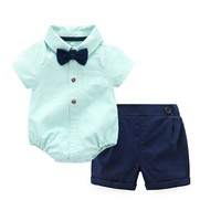Summer style baby boy clothing set newborn infant clothing 2pcs short sleeve Bodysuites + pants gentleman suit