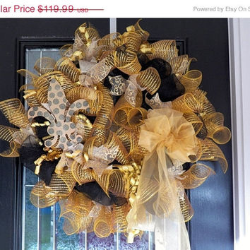 On Sale New Orleans Saints Deco Mesh Deluxe Wreath, Door Hanger, Decoration Ready to Ship