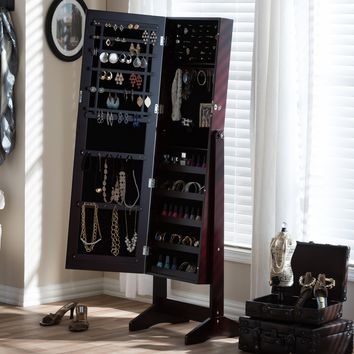 Baxton Studio Alena Brown Finishing Wood Free Standing Cheval Mirror Jewelry Armoire  Set of 1