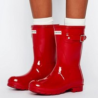Hunter Original Short Military Red Ankle Boots at asos.com