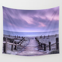 """""""To the beach...."""" Purple sunset Wall Tapestry by Guido Montañés"""