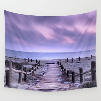 """To the beach...."" Purple sunset Wall Tapestry by Guido Montañés"