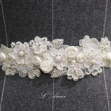 Ivory White Lace Flower on a see double face ribbon ,Hand bead lace Wedding Belt Bridal Sash