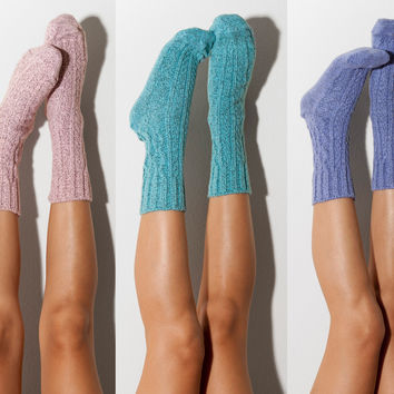 3pk Marled Cable Knit Crew Socks, Multi Pack