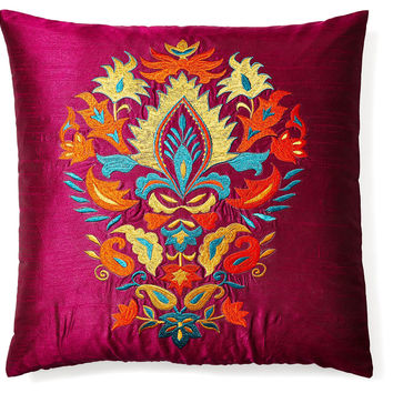 Thalia 20x20 Embroidered Pillow, Multi, Decorative Pillows
