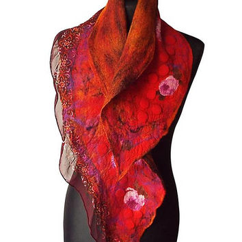 Nuno Felted Collar Nuno Felted Scarf Felted Silk scarf Neck Warmer collar Hand Felted Shawl Art to wear Women's Gift Wool collar OOAK