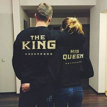 Autumn Couples Hoodies Pullovers King Queen Letter Print Fashion Casual Lovers Sweatshirts boyfriend Girlfriend Couple Clothing