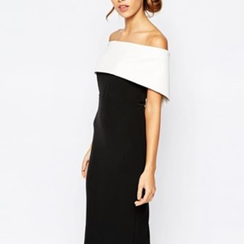 Bardot Bandeau Pencil Dress In Colour Block