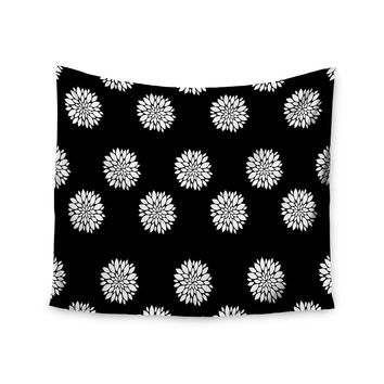 """Suzanne Carter """"Peony Rose"""" Black White Wall Tapestry"""