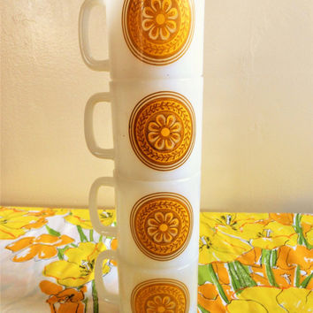 Royal China Casablanca Milk Glass Coffee Cups, Flower Power Stackable Coffee Mugs, Yellow Sunflower Coffee Cups, Cavalier Ironstone