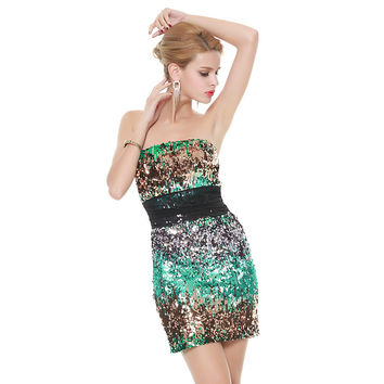 Green Sequined Strapless Bodycon Dress with Mesh Belt