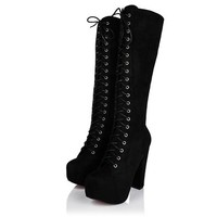 Spy Love Buy PERFECTION Block Heel Lace Up Zip Platform Knee High Boots