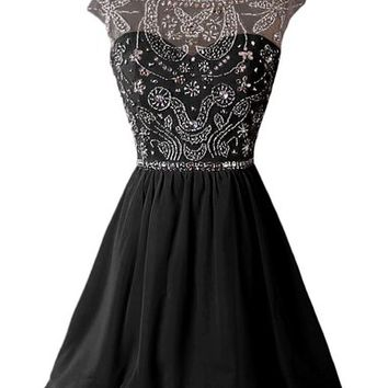 Dressystar Short Homecoming Party Dress Sparkling Bateau Prom Evening Gowns Size 2 Black