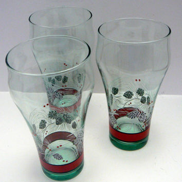Coca Cola Coke Christmas Glass Set of 3 Glasses Winter Pine Cone Pine Needles Red Border Tea Water Tumblers Lot of 3
