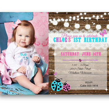 1st Birthday Invitation ladybug butterfly rustic pink teal and purple lace and wood 5x7 printed printable shabby chic first bday with photo