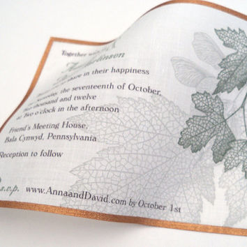 Wedding invitations, modern rustic, fall leaves, metallic copper, autumn theme, fabric invitations. maple leaves - 25