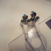 Tiny Anchor earbuds with blue crystals