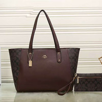COACH Women Shopping Leather Handbag Tote Satchel Shoulder Bag Two-piece H-LLBPFSH