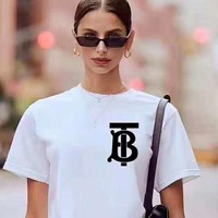 Burberry Tide brand men and women TB letter printed round neck half sleeve T-shirt White+black letters