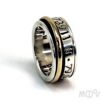 Sipnner ring with 10k Yellow gold and sterling silver, personalized engraving on spinner, latitude longitude coordinates