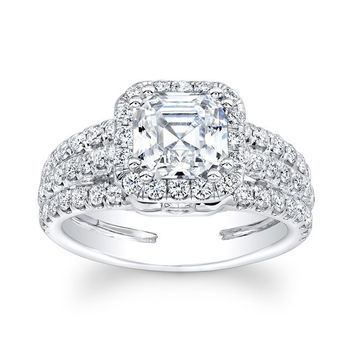 Ladies 14kt white gold diamond engagement ring 1.10 ctw G-VS2 diamonds with 1.50ct Princess Cut white sapphire center