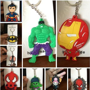 The Avengers the hulk PVC Cartoon Bag Parts Mini Anime Action Figure Key Ring Kids Toy Pendant bag Chain Holder Accessories