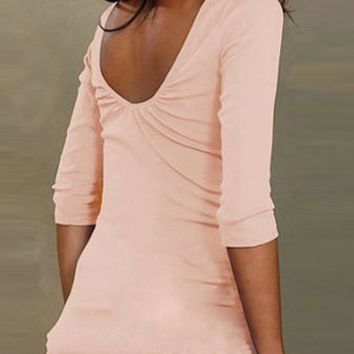Pink Round Neck Elbow Sleeve Backless Casual T-Shirt