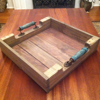 Reclaimed Weathered Gray Pallet Wood Serving Tray With Turquoise Blue Handles