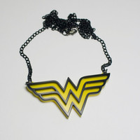 Wonder Woman Pendant necklace on a chain by LootStash on Etsy
