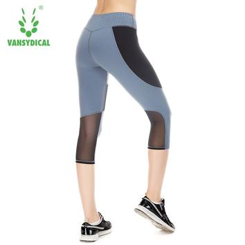 Running Tights Women Capri Leggings Fitness Girl Patchwork Elastic Tights For Yoga Gym Workout