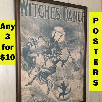 Witches broom wall art Witchy woman Salem witch style print Black cat poster print College student gift girl Goth girl Gift for gothic girl