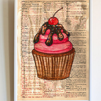 Kitchen Print Cupcake Baking Poster Baker Gifts Dictionary Paper Wall Art Decor