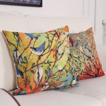 Birds Tree Printed Vintage Cotton Linen Cushion Cover Bed Pillowcases Chinese Throw Pillow Covers Decorations 45x 45cm