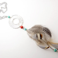 Natural Feather Necklace - Dream Catcher - Handmade Bohemian Jewelry
