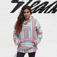 Medium Baja Hoodie, Authentic Hand Woven Mexican Baja Hoodies Sweater, Bohemian Gypsy Beach Sweater Drug Rug, Pink / Green / Blue