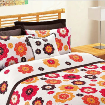 Custom Queen Size Coral Fire Red Pumpkin Orange Brown Daisy Appliqued Bedding Set  with Brown Sheet and 4 pillows , 6 pcs