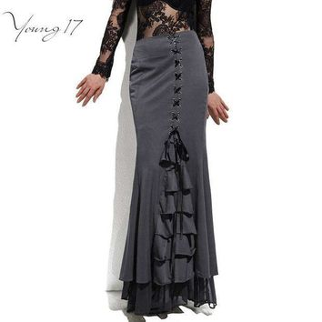 ICIKL3Z Young17 Skirt Long Frilly Women Sexy Fishtail Corset Lace-Up Slim Floor-Length Vintage trumpet sexy gothic style Mermaid skirts