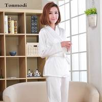 Kimono Pajamas For Women White Lace Satin Sleepwear Long Sleeve Pajama Sets Ladies Silk Pyjamas