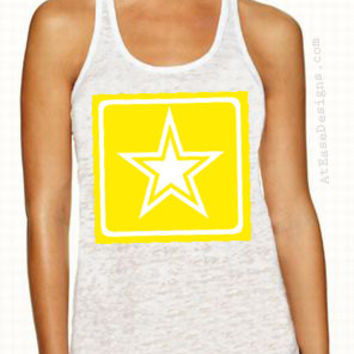 ARMY star Burnout Tank. usn sailor at ease designs usmc navy army uscg clothing