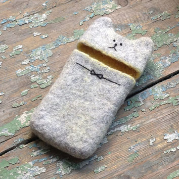 Cover/Case/Wool Sleeve/Wool Felt/fit iPhone 4s/5/5s/6/Cat/Grey/Animal/Pets/Geekery Gift