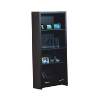 """Cappuccino Hollow-Core 71""""H Bookcase with a Drawer"""