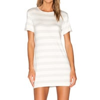 amour vert Brigette T-Shirt Dress in Heather Grey Stripe