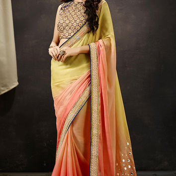 Pink Cream and Blue Art Silk Party Wear Saree