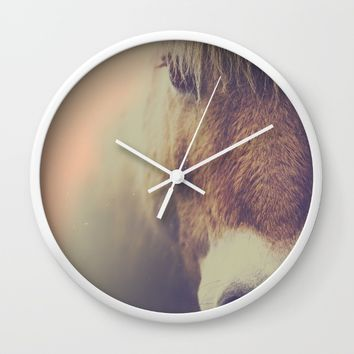 The curious girl Wall Clock by HappyMelvin | Society6