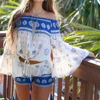 Clear Blue Skies Boho Gypsy Top