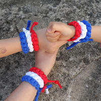 3x World Cup bracelet - Red white blue - Team USA basketball - Netherlands football - Holland soccer - Chile soccer - France - Russia