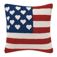 US Flag with Hearts Hook Pillow